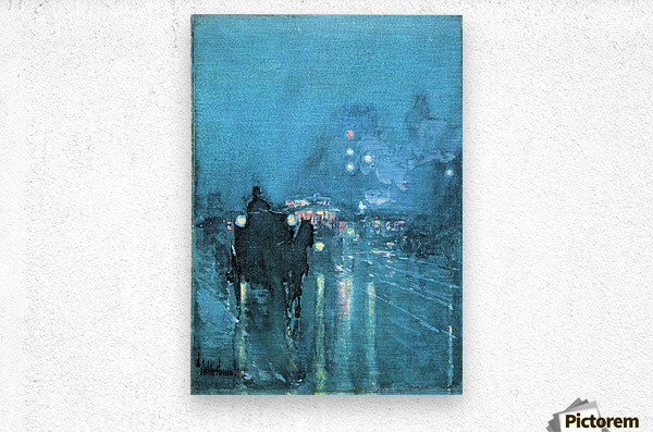 Nocturne, Railway Crossing, Chicago by Hassam  Metal print