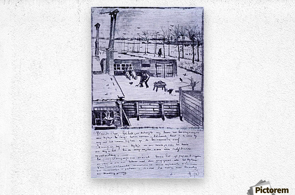 View from the window of the studio by Van Gogh  Metal print