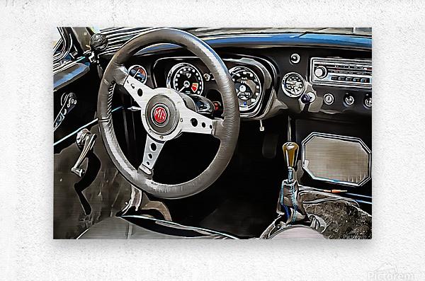 MG B Glance At Interior  Metal print