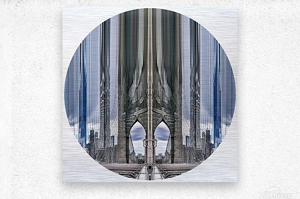New York vue du pont de Brooklyn - rond  Metal print
