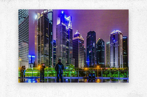 Lujiazui District Nigth Scene, Shanghai, China  Metal print