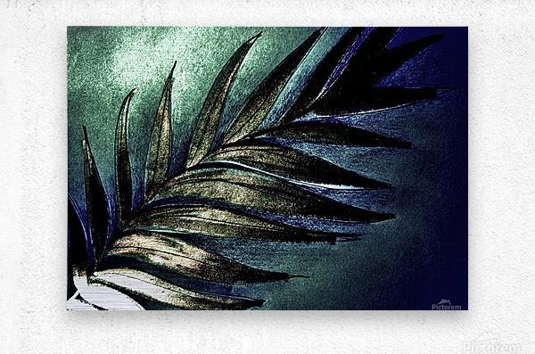 PEARL GLITTER EFFECT LEAVES TROPICAL DESIGN  Metal print