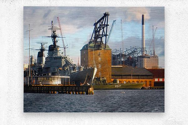 Ships at Holmen  Metal print