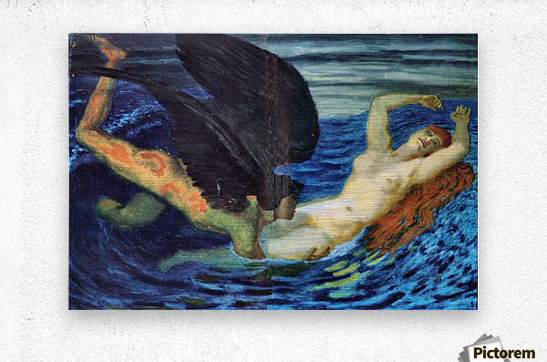 Wind and Wave by Franz von Stuck  Metal print