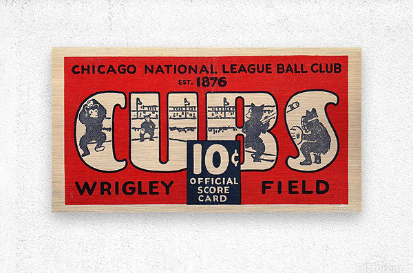 1929 Chicago Cubs score card  Metal print