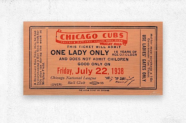 1938 Chicago Cubs World Series Ticket  Metal print