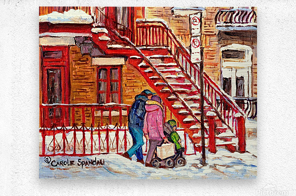 MONTREAL PAINTING OF WINTER SCENE COUPLE NEAR SPIRAL STAIRCASE   Metal print