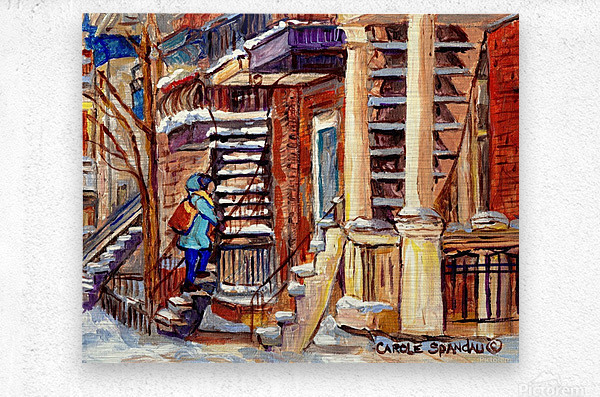 MONTREAL PAINTING PLATEAU MONT ROYAL WINTER SCENE GIRL WALKING OUTDOOR STAIRS  Metal print