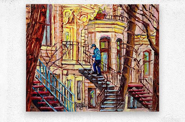 MAILMAN WALKING UP SPIRAL STAIRCASE PLATEAU MONT ROYAL MONTREAL STREET SCENE  Metal print