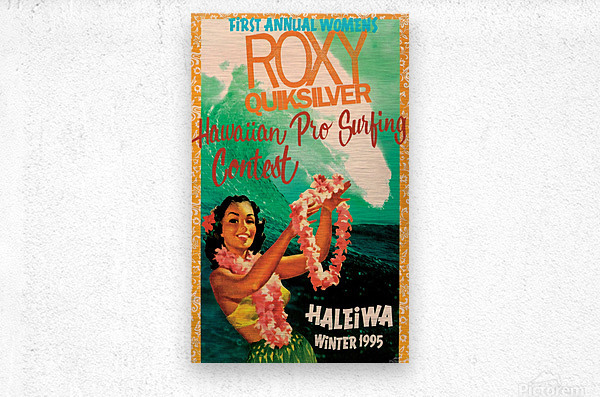 1995 ROXY QUICKSILVER HAWAII PRO Surfing Competition Poster  Metal print