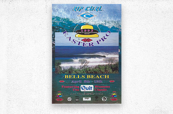 1993 RIP CURL BELLS BEACH EASTER Surfing Championship Competition Print - Surfing Poster  Metal print