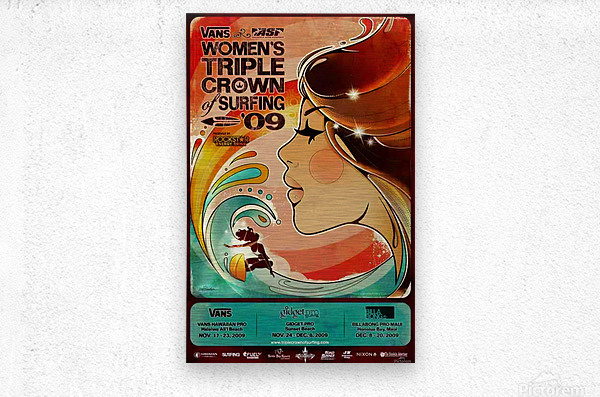 2009 Womens VANS TRIPLE CROWN OF SURFING Competition Poster  Metal print