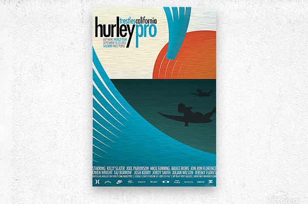 2012 HURLEY PRO TRESTLES Surf Competition Poster  Metal print