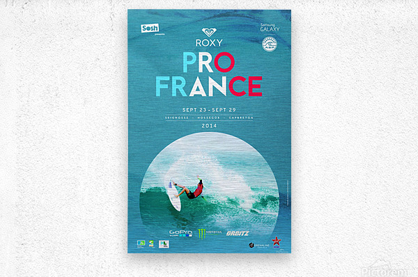 2014 ROXY PRO FRANCE Surfing Competition Poster  Metal print