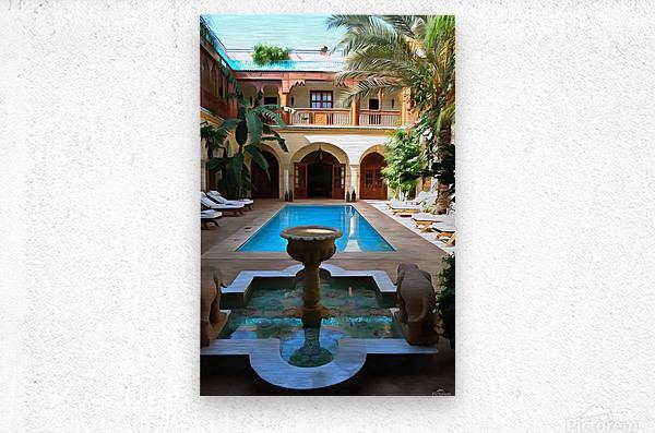 Riad Pool View Marrakesh  Metal print
