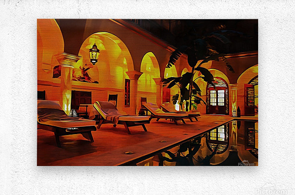 Riad At Night In Marrakech  Metal print