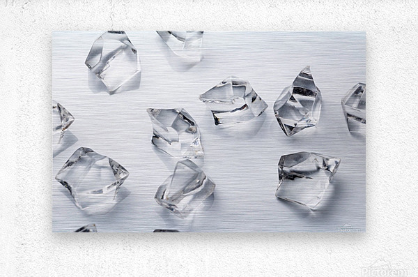 Crystals on the white background  Metal print