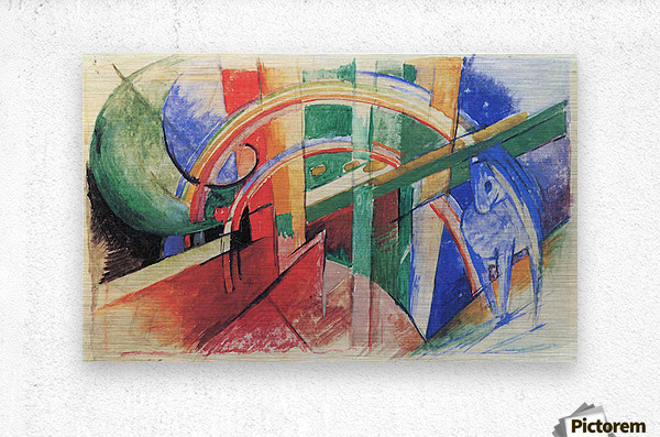 Blue horse with rainbow by Franz Marc  Metal print