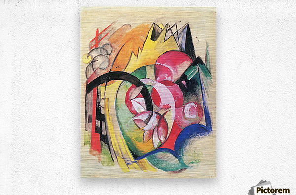 Colored flowers by Franz Marc  Metal print