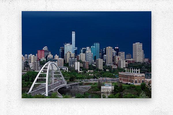 Edmonton Skyline & Thunderstorm...  Metal print