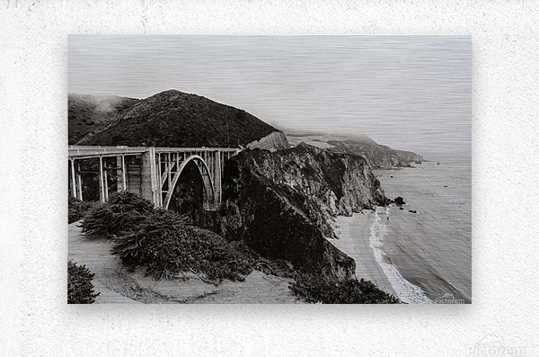 Bixby Bridge B&W  Impression metal