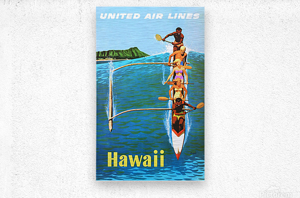HAWAII TRAVEL POSTER  Metal print
