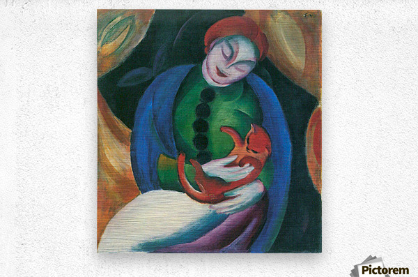 Girl with a Cat II by Franz Marc  Metal print