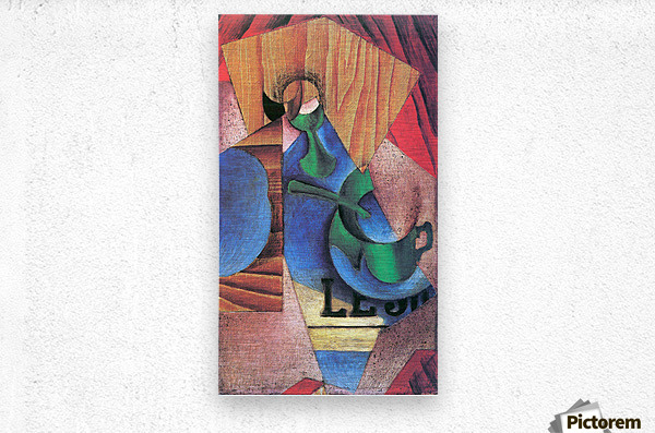 Glass, cup and newspaper by Juan Gris  Metal print