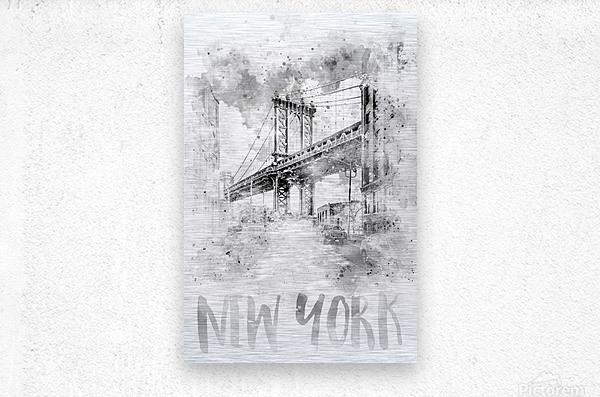 Monochrome Art NYC Manhattan Bridge | watercolor  Metal print