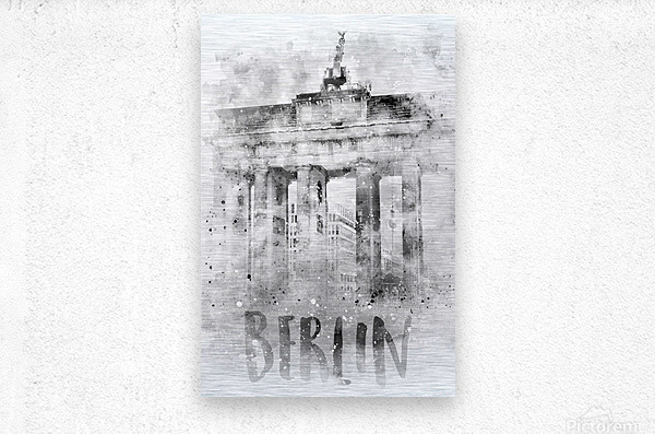 Monochrome Art BERLIN Brandenburg Gate | Watercolor  Metal print
