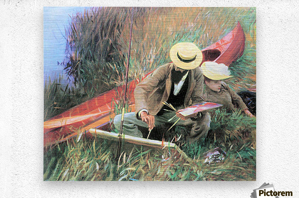 Paul Helleu stands with his wife by John Singer Sargent  Metal print