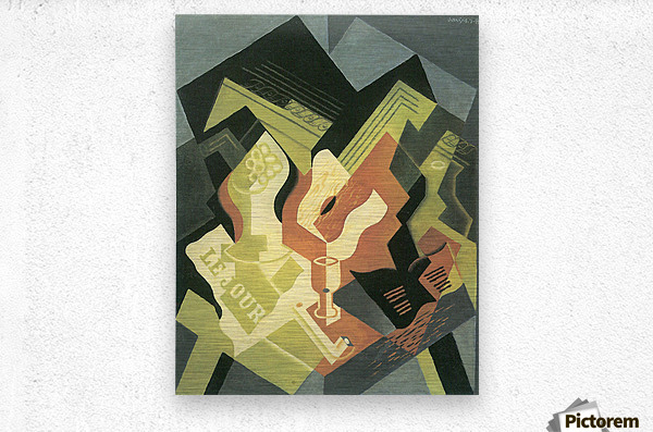 Guitar and Fruit Bowl -2- by Juan Gris  Metal print