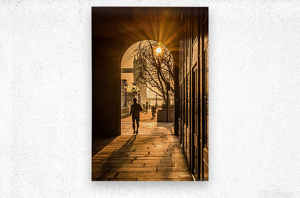 Silhouette  Tower Bridge London  Metal print