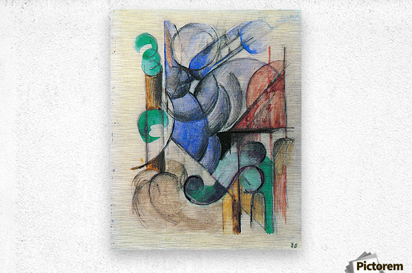 House in abstract landscape by Franz Marc  Metal print