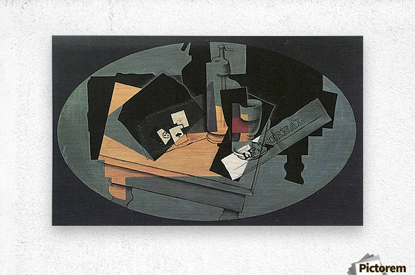 Playing cards and siphon by Juan Gris  Metal print