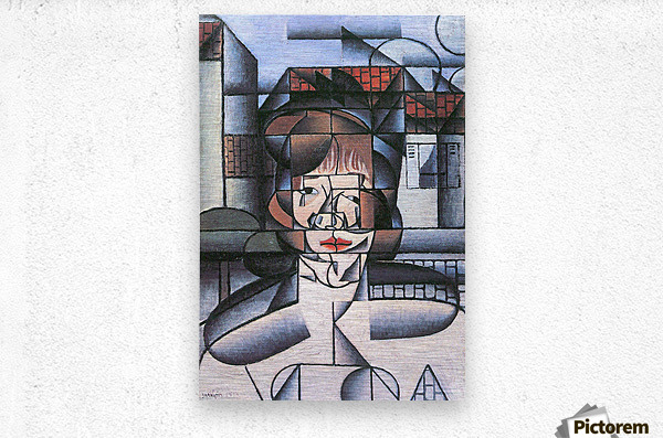 Portrait of Madame Germaine Raynal -1- by Juan Gris  Metal print