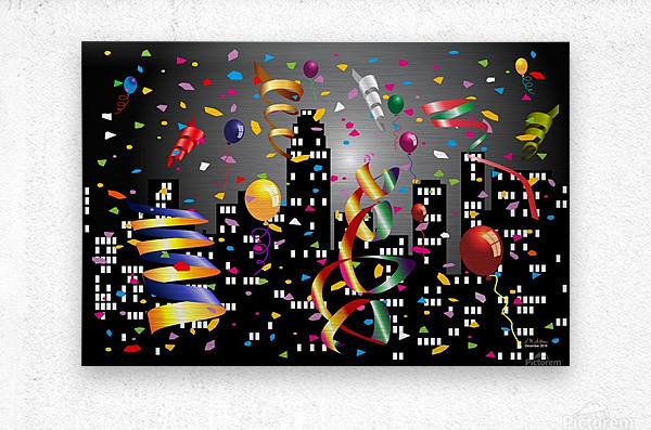 1-Nighttime Celebration in the Big City  Metal print