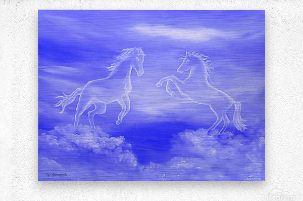 Horse Spirit Clouds  Metal print