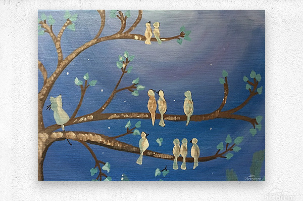 Birds on a limb  Metal print