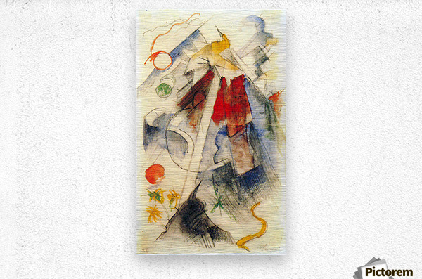 Sketch of the Brenner road -1- by Franz Marc  Metal print