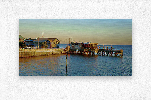 Cedar Key Florida - Sunset On The Wharf  Metal print