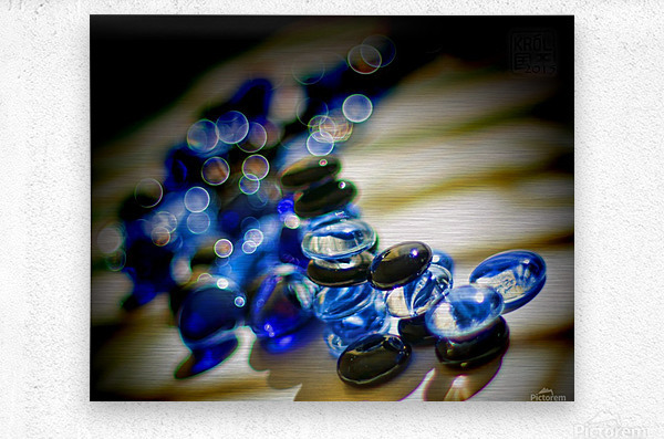 Blue Mosaic Glass Gems  Metal print