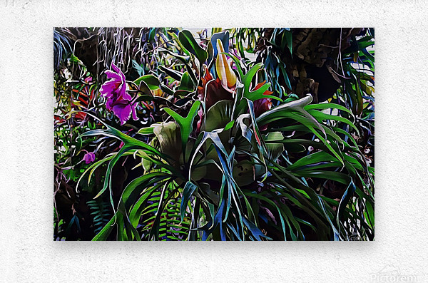 Stag Horn And Orchid Fantasy Garden  Metal print