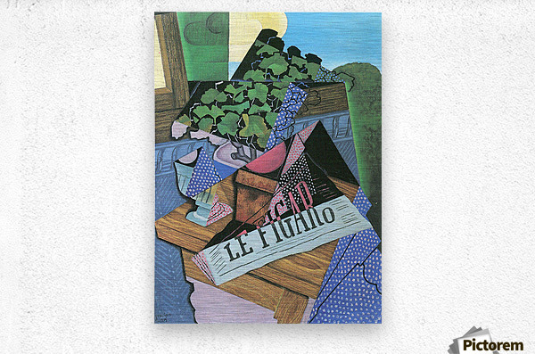 Still Life with geraniums by Juan Gris  Metal print