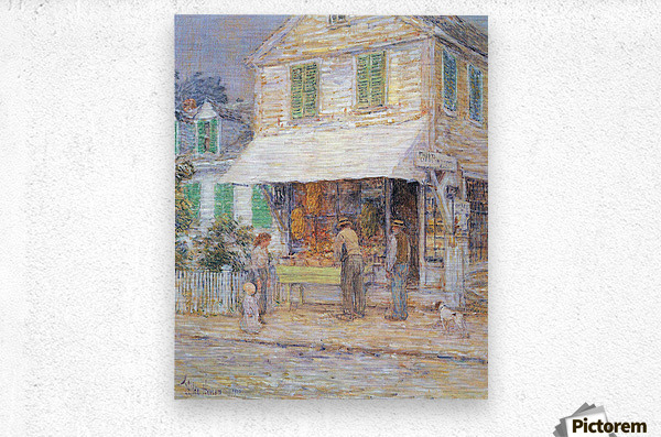 Provincial town by Hassam  Metal print