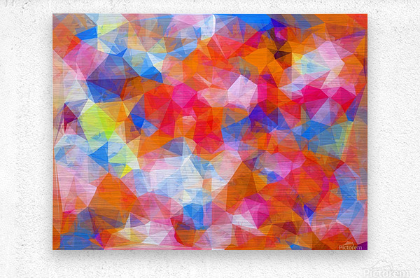 geometric triangle pattern abstract background in orange pink blue  Metal print