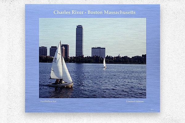 Sailing The Charles River - Boston Massachsuetts  Metal print