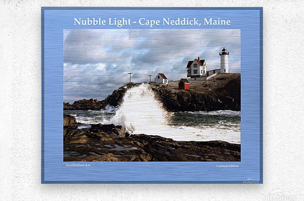 Nubble Light - Cape Neddick - York - Maine High Surf  Metal print