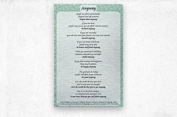 2-Anyway Poem  Metal print