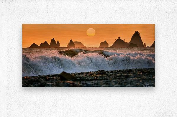 Sea Stacks at Rialto Beach  Metal print